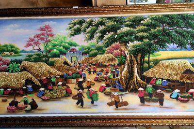 tranh đá quý chợ quê